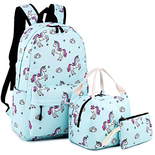 School Backpack for Girls Cute Bookbag Laptop SchoolBag with Lunch tote for Teens Boys Kids Waterproof travel Daypack (Light blue)