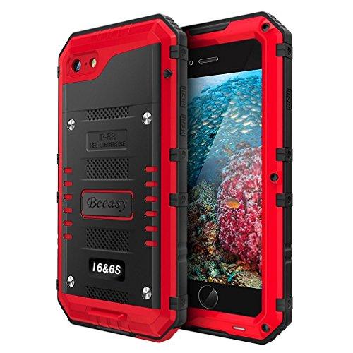 Beeasy Funda Antigolpes para iPhone 6 / 6S, Impermeable Rígida Carcasa Rugged Armor Resistente al Impacto Grado Militar Duradera Robusta al Aire Libre Playa para iPhone6 y iPhone6s,Rojo