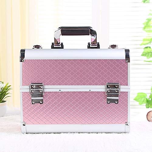 XuZeLii Boîte De Maquillage Grand Espace Rose Maquillage Boîte Cosmétiques Voyage Organisateur for Les Femmes Convient pour Voyage (Color : Pink, Size : 33x27x21cm)