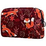 Bolsa de Maquillaje para niños Zorro Encantador Rojo Oscuro Accesorio de Viaje Neceser Pequeño Bolsas de Aseo Suave al Tacto Cosmético Organizadores de Viaje 18.5x7.5x13cm