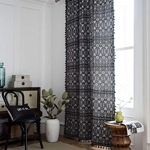 FACWAWF Vorhang Jacquard Geometric Black Tassel Bohemian Curtain Amerikanischer Landvorhang Anti-Uv-Vorhang...