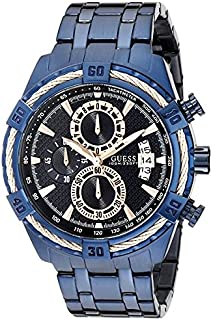 GUESS Men U0522G3 Iconic Blue and Rose Gold-Tone Stainless Steel