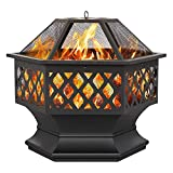 Topeakmart Portable Fire Pit Outdoor Firepit with Mesh Sides Cover Poker Steel Heater Fireplace Wood Burning Pit Hexagon Shaped Fireplace Metal Brazier 24in