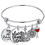 75th Charming Birthday Gifts for Women 75 Year Old Happy Birthday Bracelet Live Laugh Love Bangle Sweet Jewelry for Her