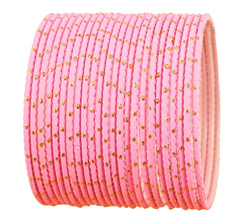 Touchstone New Colorful Bangle Collection Indian Bollywood Exclusive Golden Glaze Pink Color Designer Jewelry Special Large Size Bangle Bracelets. Set of 24 for Women.