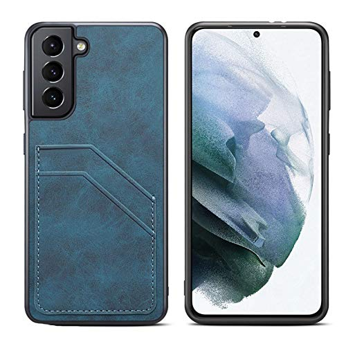 Fadter Funda para Samsung Galaxy S21 Ultra de piel 360 grados de protección con tarjetero de silicona para Samsung Galaxy S21 Ultra (azul)