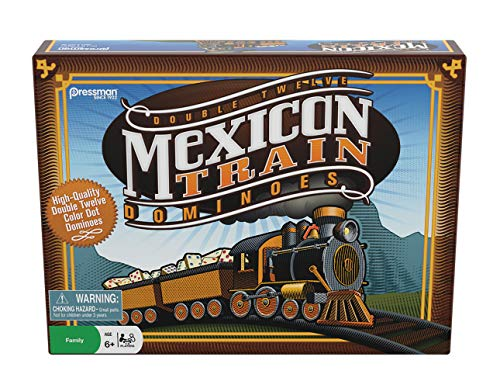 """Pressman Mexican Train Dominoes Beautifully Colored Dominoes - Set Includes Train Markers and Hub, Generic, 5"""" (3928-06)"""