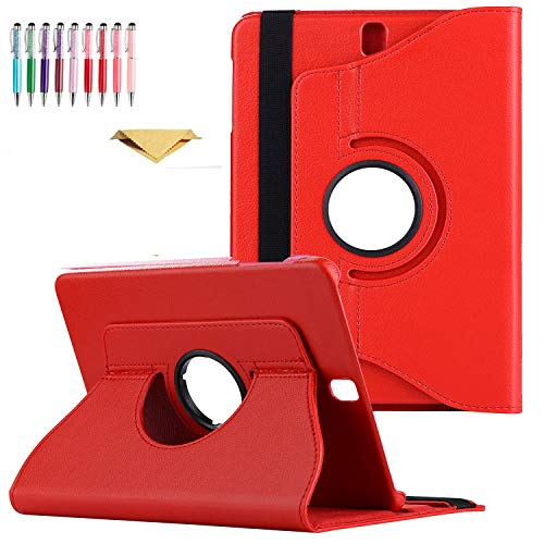 QYiD Galaxy Tab 4 7.0 Case SM-T230, Slim Folding PU Leather 360 Degrees Rotating Stand Case with Auto Sleep/Wake Feature for Samsung Galaxy Tab 4 7-inch, Models SM-T230, SM-T231, SM-T235, Red