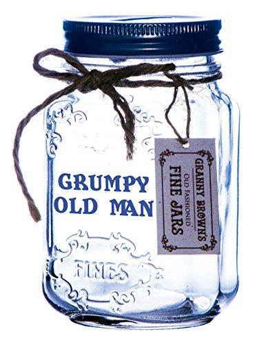 BOXER Grumpy Old Man Mason Pot de, Verre Transparent