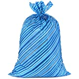 Hallmark 56' Large Holiday Plastic Gift Bag (Blue Stripes with Gift Tag) for Hanukkah, Christmas, Father's Day, Birthday, Graduations, Baby Showers