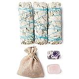 3 White Sage Smudge Sticks Sustainably Grown + Amethyst Stone + Rose Quartz Stone   Smudging Kit for Protection + Love   Smoke Cleansing Sage Bundles (3)