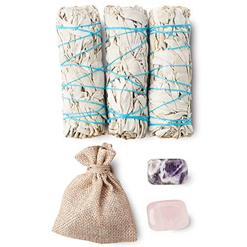 3 White Sage Smudge Sticks Sustainably Grown + Amethyst Stone + Rose Quartz...