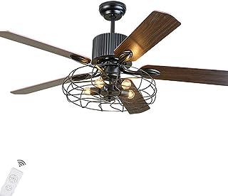 Pengfei Ventilador de Techo Retro de 52 'con Luces Candelabro Industrial con Control Remoto Lámpara de 3 velocidades Accesorio de iluminación Reversible, se requieren Bombillas de Motor silencioso
