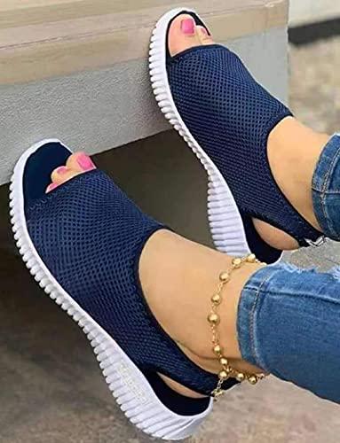 XLBHSH Ahuecar Sandalias Cuña Mujer Punta Abierta Zapatos Verano Malla Sandalias Respirable Zapatillas Casual Playa,Azul,42