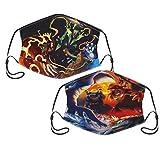 Anime Cosplay Po-ke-mon Groudon Kyogre Latias Latios 2 Pack Reusable Face Masks Windproof Dustproof Breathable Adjustable Mouth Cover Shield Men Women Bandana Balaclava