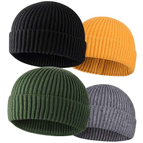 ROYBENS 4 Pack Wool Fisherman Beanies for Men, Knit Short Watch Cap Winter Warm Hats, D