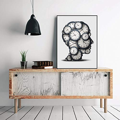 QAZEDC Art print canvas decoratief schilderij Denken Tijd Concept Art Print Poster, Abstract Klok Objecten Deadline Druk Afbeelding Canvas Schilderen Moderne Decoratie