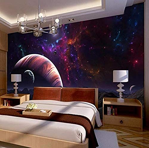 Papel 3D suelo de tela superficie dormitorio mesita de noche fantasía universo estrellas planetas gran mural p Pared Pintado Papel tapiz 3D Decoración dormitorio Fotomural sala sofá mural-430cm×300cm