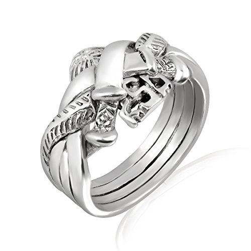 WithLoveSilver 925 Sterling Silver Celtic Puzzle 4 Parts 2 Swords Ring (Sizes: 6, 8, 9) (6)