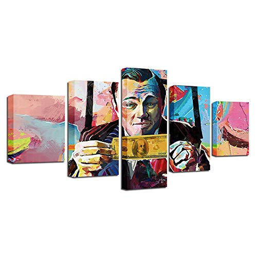 ZHONGZHONG Large Wall Art Canvas Painting For Living Room 5 Pieces Doodle People Dollar Abstract Painting Picture Prints Poster Artwork Home Decoration Stretched And Framed Ready To Hang