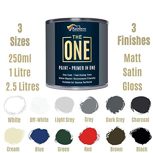 The ONE Paint - White - 1 Liter - MATTE Finish, Multi Surface for Wood, Brick, Fence, Front Door, Furniture, Siding, Barn - Interior or Exterior