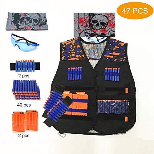 ACITMEX Kinder Taktisch Vest Battle Weste Kit für Nerf Guns N-Strike Elite Serie—Strike Elite Series mit 40 Stück Nachfüllpfeilen, 2 Dart Reload-Clips, 2 Handgelenkbändern, 1 Brille, 1 Totenkopfmaske