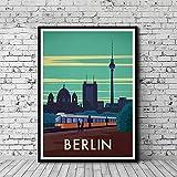 Pintura en lienzo Mapa de viaje de la ciudad de Berlín Imagen Vintage Carteles e impresiones en lienzo Impresión en HD Mural Sala de estar Decoración del hogar Pintura sin marco