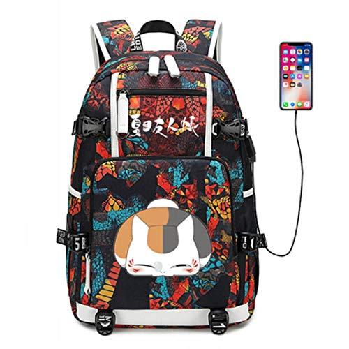 Xcmlz Natsume Yuujinchou School Bag Laptop Bag Men Travel Bags USB Backpack 12