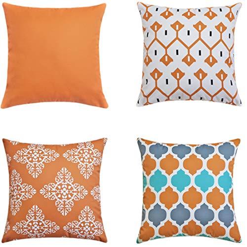 LIANNAO 4 Pack Funda de Cojines Cuadrado Funda de Sintética Almohada del SofasThrow Cojines Decoración Almohada Caso de la Cubierta Geométrico Decorativas 55X55cm Naranja
