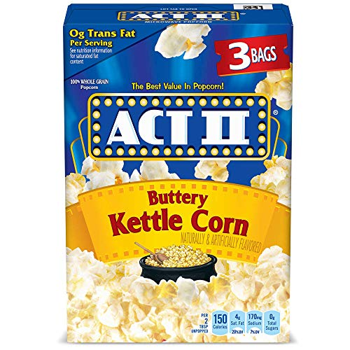 ACT II Buttery Kettle Corn Microwave Popcorn, 3-Count, 2.75-oz. Bags (Pack of 12)