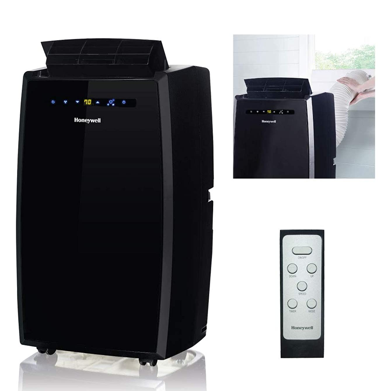 Honeywell MN12CESBB 12000 BTU Portable AC, Dehumidifier, Fan for Rooms Up To 400-550 Sq. Ft. with Thermal Overload Protection, Washable Air Filter & Remote Control