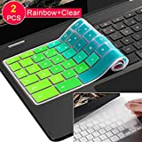 [2 pcs] Lapogy Keyboard Cover Skin for Samsung Chromebook Plus(12.3 inch)/Samsung Chromebook Pro(12.3 inch),Chromebook Plus XE513C24,Chromebook XE510C24 XE510C25 XE513C24(Clear and Rainbow)