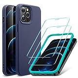ESR iPhone 12 ケース iPhone 12 Pro ケース フィルム2枚付属 6.1インチ 2020型 快適な握り心地 ケースとフィルムセット ブルー