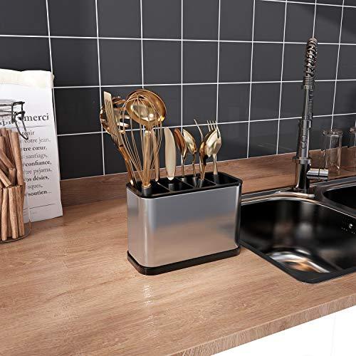 JASIWAY Kitchen Utensil Holder 304 Stainless Steel Sinkware Caddy Cooking Utensil Holder Organizer Storage Stand Silver