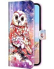 Compatible con Samsung Galaxy A01 Funda Piel PU Cuero,Billetera Flip Libro Tapa Purpurina Glitter Brillante Carcasa Multifuncion Soporte Plegable,Cierre Magnético,Ranura tarjetas Funda,Búho