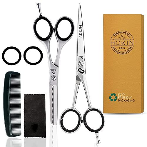HOKIN Tijeras Peluquería Profesional Tijeras de acero inoxidable de 6.5 tijeras cortar pelo para adelgazar - Para hombres, mujeres y niños (Tijeras Peluquería) (Kit)