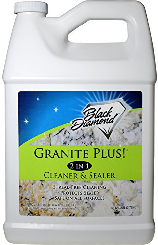 Black Diamond Stoneworks GRANITE PLUS! 2 in 1 Cleaner & Sealer for Granite, Marble, Travertine, Limestone, Ready to Use! (1-Gallon)