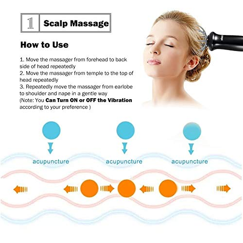 Ikeepi Scalp Massager, Vibration Head Massager for Stress Relaxation, Hair Stimulation, 2 Different Massage Heads- Massaging Face, Neck, Back &Legs