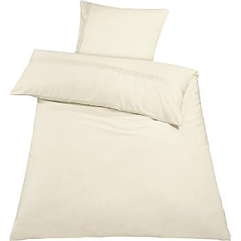 Meradiso® Baumwollsatin Bettwäsche Bettbezug, 100% Baumwolle (135 x 200 cm, Creme weiß)