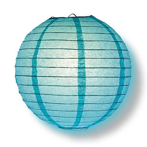 "Quasimoon PaperLanternStore.com 12"" Water Blue Round Paper Lantern, Even Ribbing, Hanging Decoration"