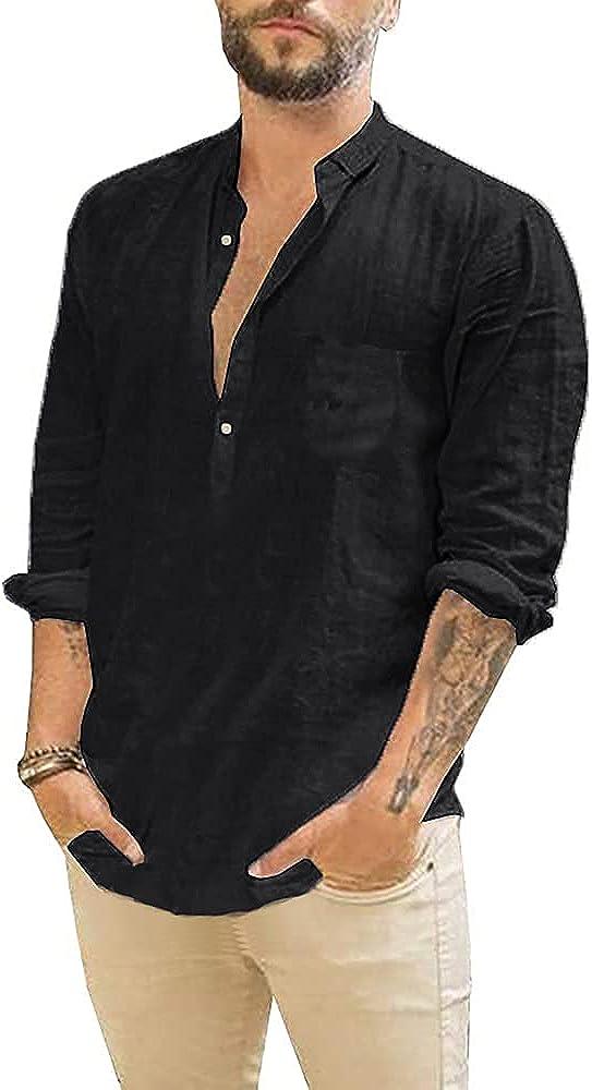 Makkrom Men's Cotton Industry No. 1 Linen Henley Sleeve Shirt Casual Max 89% OFF Light Long
