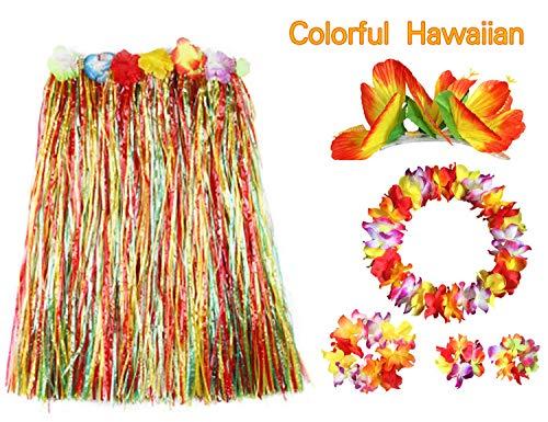BigLion 6 Piezas Hawaiana Falda de Hierba Disfraces, Falda Hawaianas Hula Luau Hierba Elásticas Guirnaldas Hawaianas Flores Leis Pinzas Pelo Collares Pulseras Diademas Garland Hawai Party Favores