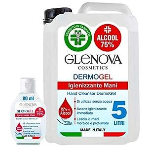 Tanica Gel 5 Litri Igienizzante per Mani Alcool 75% con 80ml tascabile 75% Detergente Antibatterico Sanificante Alcolico Contro Germi Batteri