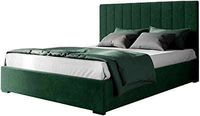 Velvet Fabric Upholstered Bed Frame Bed Base King Bedroom Furniture Green