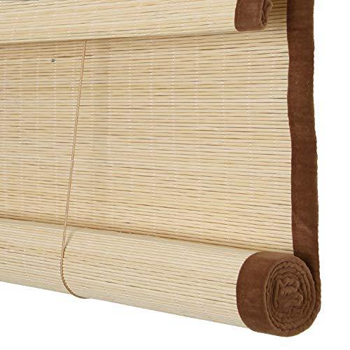 Persiana Estores de bambú Persiana Enrollable Romanas, bordura cortina Sombreado Proteccion solar, Elevación enrollable, Adecuado para oficinas de salón de té. Tamaño personalizable,C,W130xH250cm