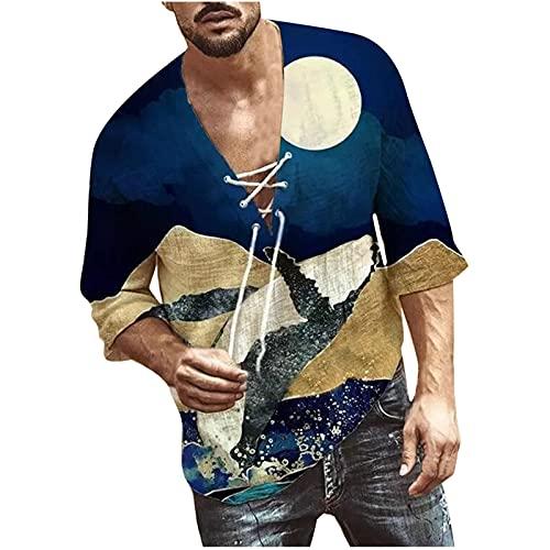 2021 Camiseta Hombre Manga corta Moda Casual T-shirt Blusas camisas Impresión Talla grande Camiseta originales Cuello en V Cordón hombre suave básica Verano otoño camiseta deportiva Top