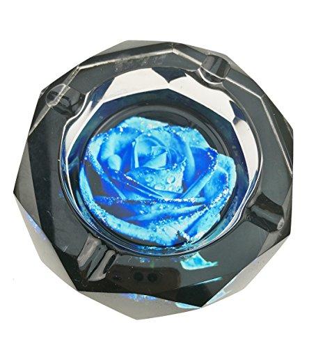 UNIGIFT Classica Blue Roses Modello Trasparente Octangle Forma Cristallo Vetro posacenere per Home Office scrivania Decorazione da Tavolo Idea Regalo per la Festa del papà