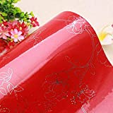 LZYMLG Brillo impermeable autoadhesivo Pvc vinilo papel tapiz rollo para cocina papel de pared muebles escritorio decorativo rojo 2