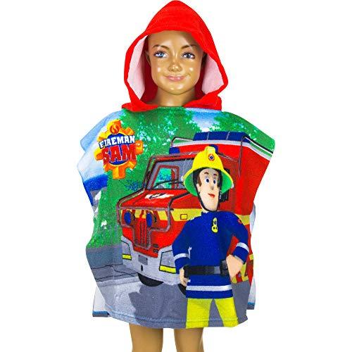 Feuerwehrmann Sam Poncho 55x110 cm 100% Polyester Saunatuch Badetuch Handtuch