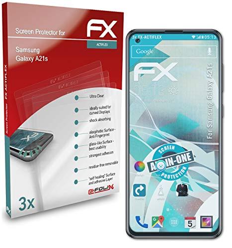 atFolix Schutzfolie kompatibel mit Samsung Galaxy A21s Folie, ultraklare & Flexible FX Bildschirmschutzfolie (3X)